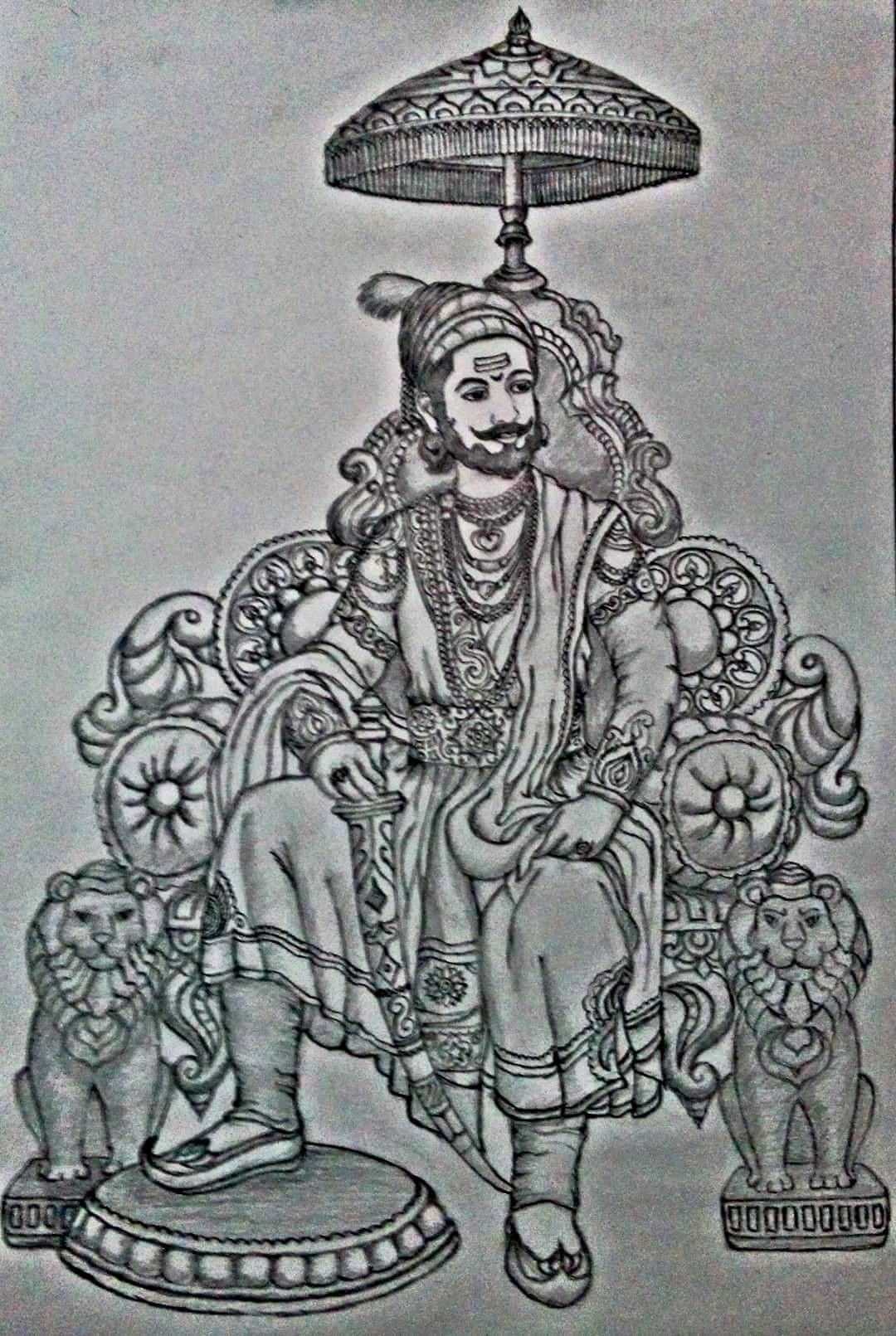 Shivaji maharaj pencil sketch