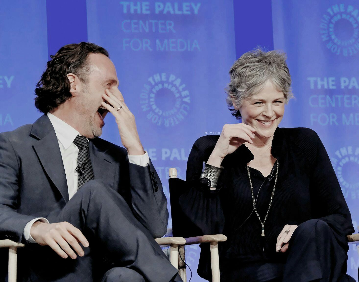 Melissa McBride and Andrew Lincoln having a blast at the 2017 Paleyfest in LA!