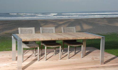 Mobiliario para exterior mesa madera y acero inox for Mesas de madera para exterior
