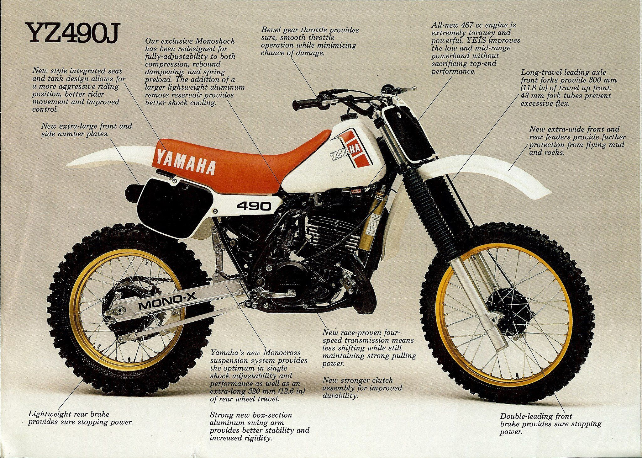 1982 yamaha yz490 european model vintage brochures. Black Bedroom Furniture Sets. Home Design Ideas