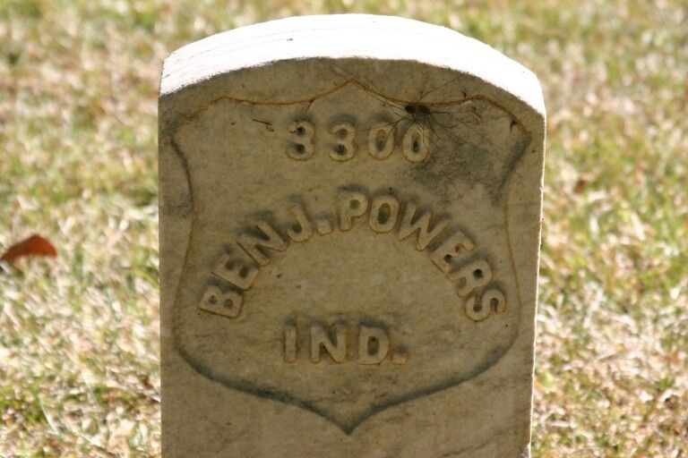 GRAVE MARKER OF INDIANA SOLDIER AT THE SHILOH BATTLEFIELD.