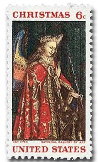 """Day 7 – In 1968, only a religious stamp was issued.  This year's stamp, as well as many other United States stamps, is designed from objects housed in the National Gallery of Art, Washington, DC    1968 – The Angel Gabriel, cropped from the painting """"The Annunciation"""" by Jan van Eyck... Merry Christmas from World Stamp Show-NY2016  – see the entire painting by clicking here   http://upload.wikimedia.org/wikipedia/commons/f/fb/Annunciation_-_Jan_van_Eyck_-_1434_-_NG_Wash_DC.jpg"""