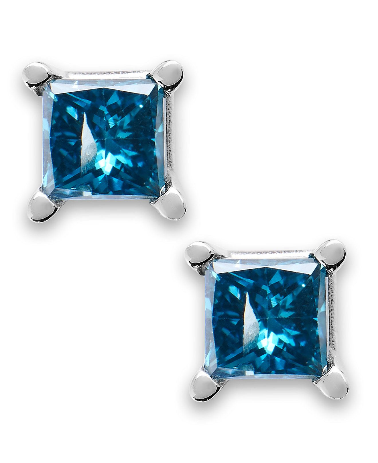 14k White Gold Earrings Sapphire 1 1 5 ct t w and Dia