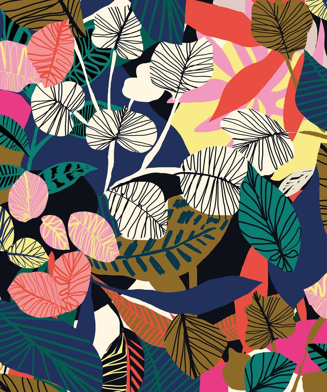 Overgrown Wallpaper Colourful Tropical Wallpaper In 2020