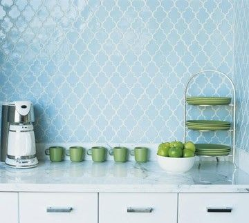 Light blue moroccan inspired arabesque ceramic tile with white grout for kitchen. Want to do this with the same white marble countertop and traditional white cabinets. Clean and beautiful.