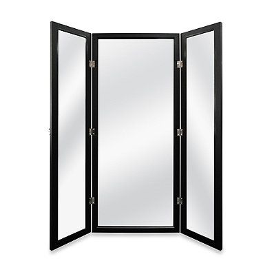 Attractive Door Solutions 3 Way Over The Door Mirror In Black