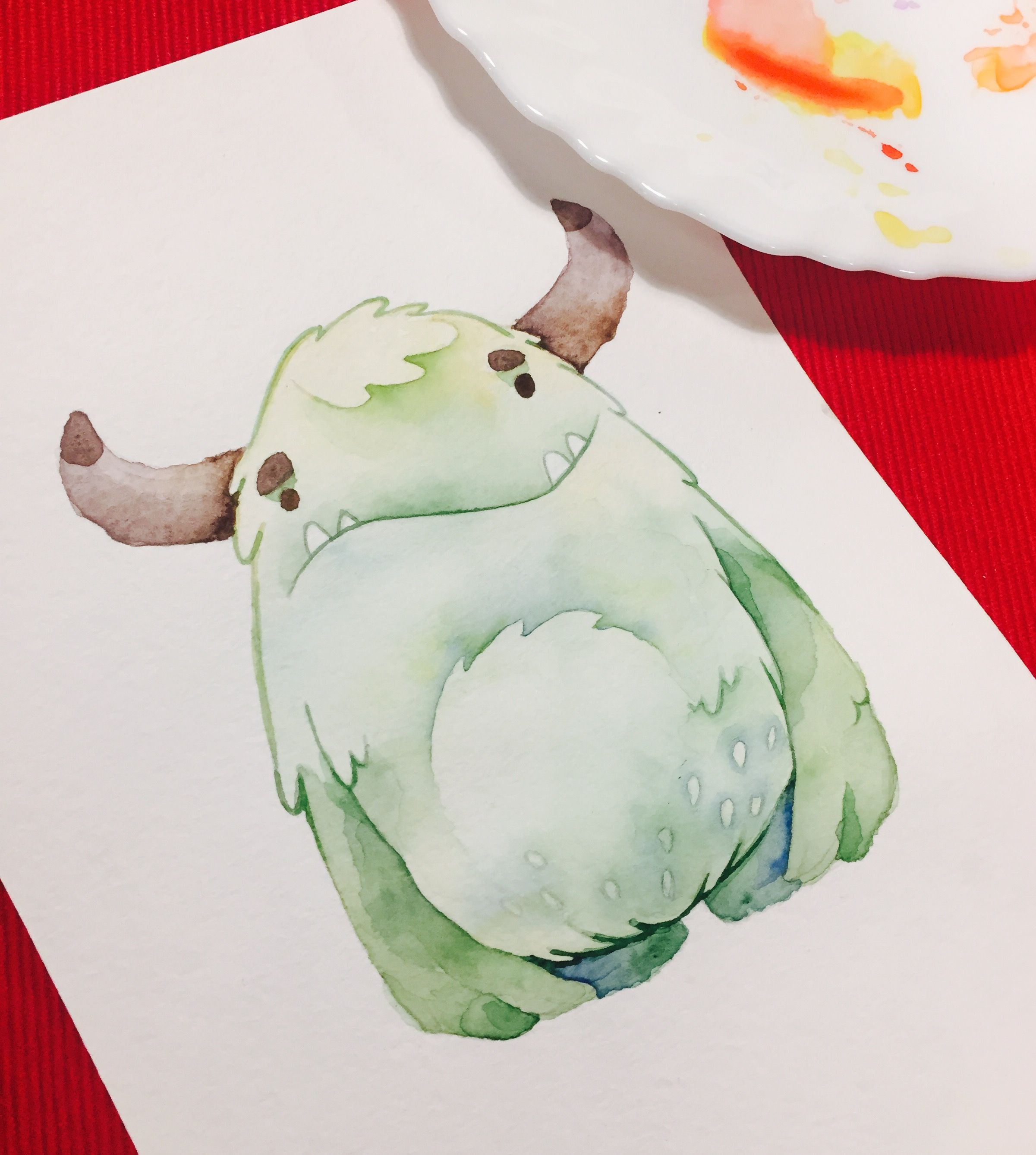 Watercolor Cute Monster Watercolor Creature Art Cute Dinosaur
