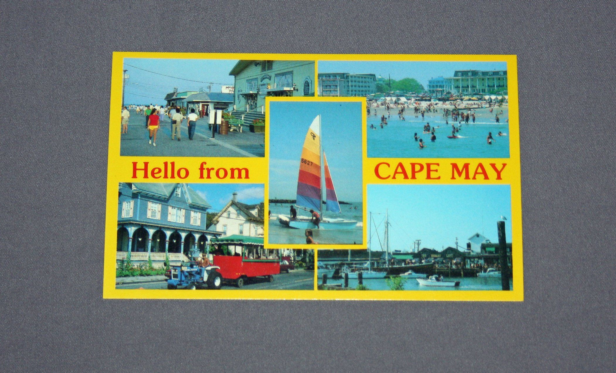 Vintage hello from cape may nj postcard unused photochrome postcards