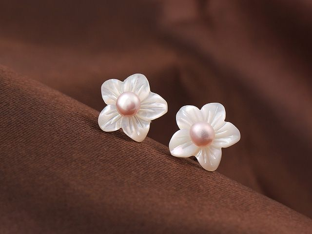 Cute Bauhinia Shape Shell And Pink Pearl 925 Sterling Silver Studs Earrings----$5.51