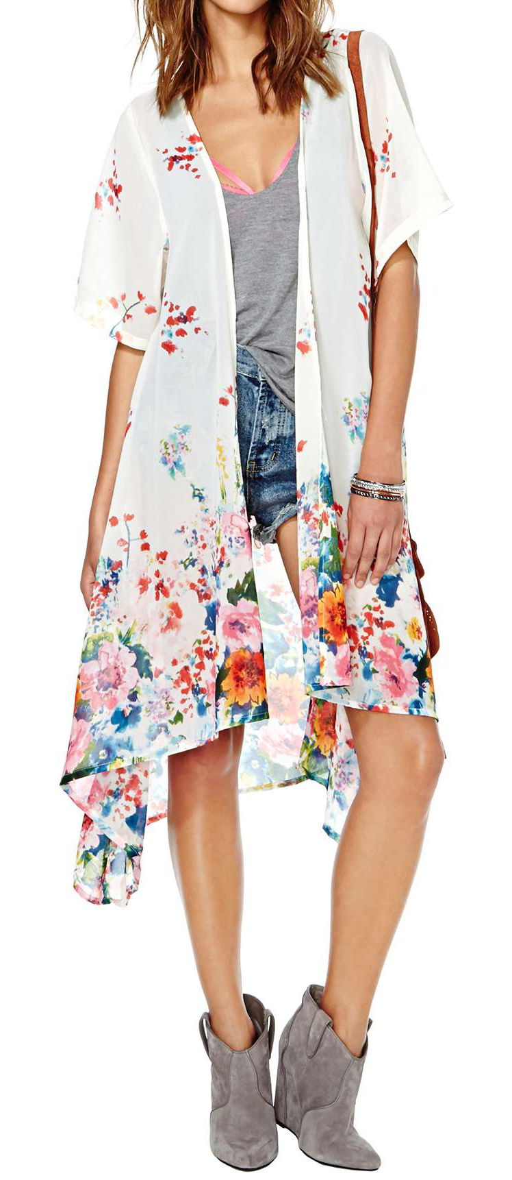 Tops || white floral kimono | Dress Fashion | Pinterest | Floral ...