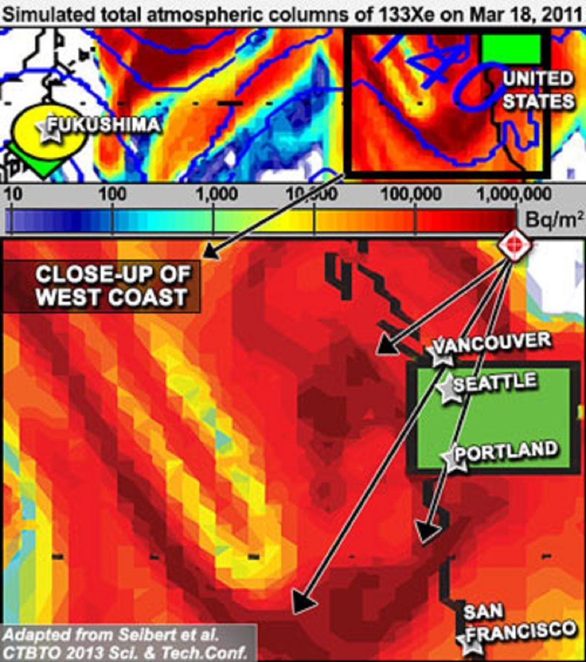 Fukushima  Initial Plume Exceeded 1 Million Bq/m3 Sustained On West Coast
