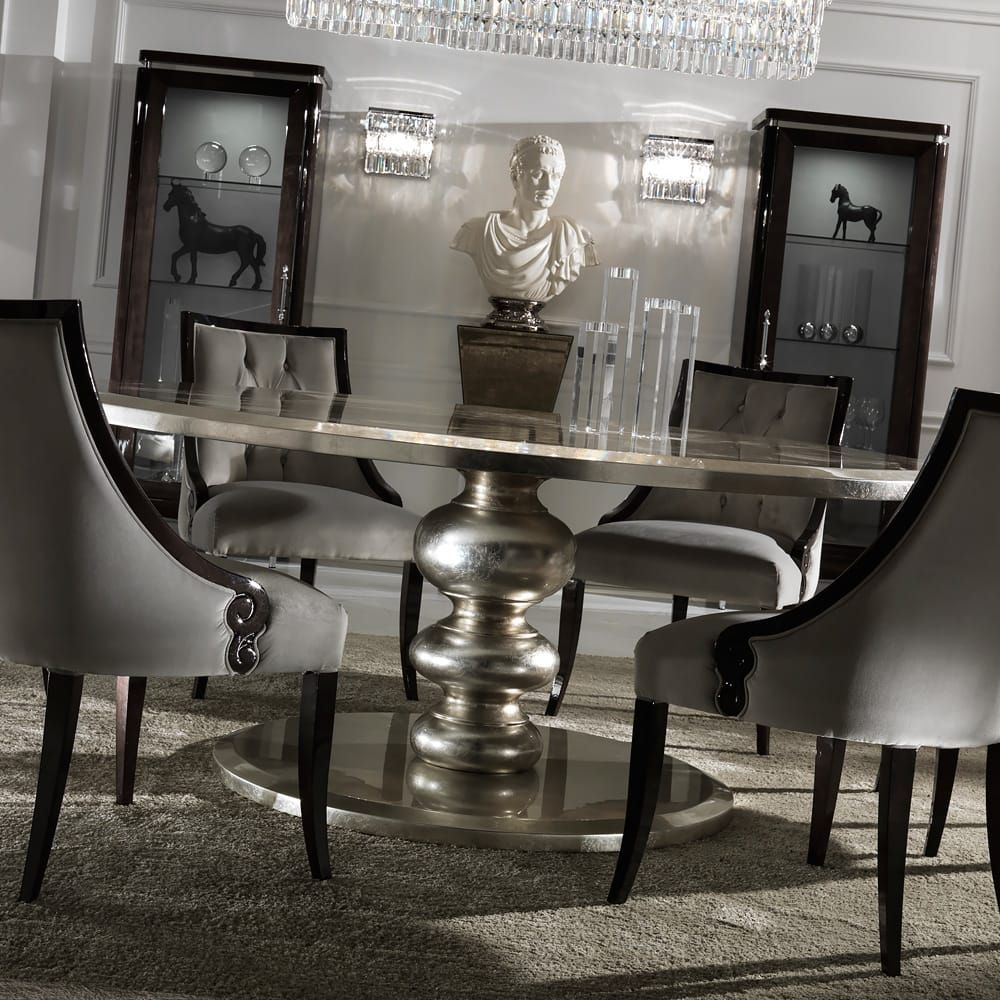 Large Round Italian Champagne Leaf Dining Table and Chairs ...