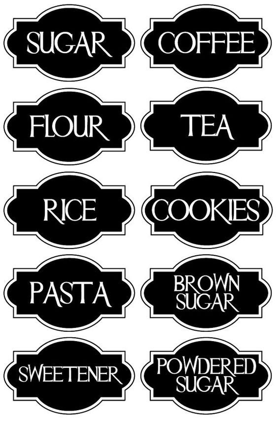 a very chic set of 10 vinyl kitchen canister labels decal