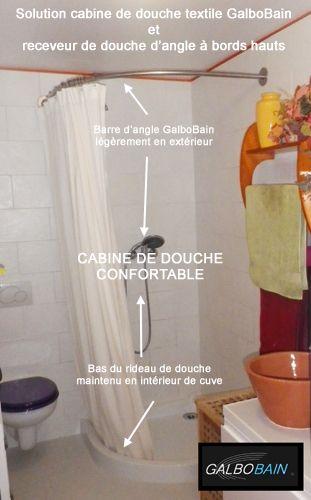 Solution receveur de douche quart de rond bord haut et barre rideau de douche d 39 angle - Cabine de douche gedimat ...