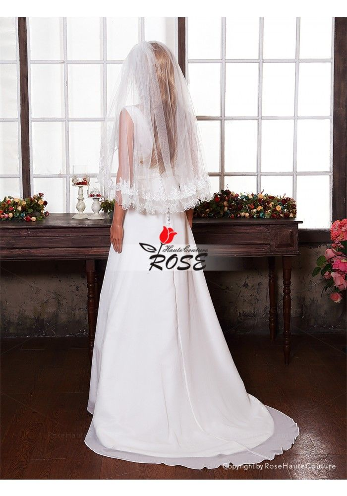 Applique Wedding Veil One Tier Tulle Bridal Veil Hip Length Curved Egde Style BV012 - Wedding Veil