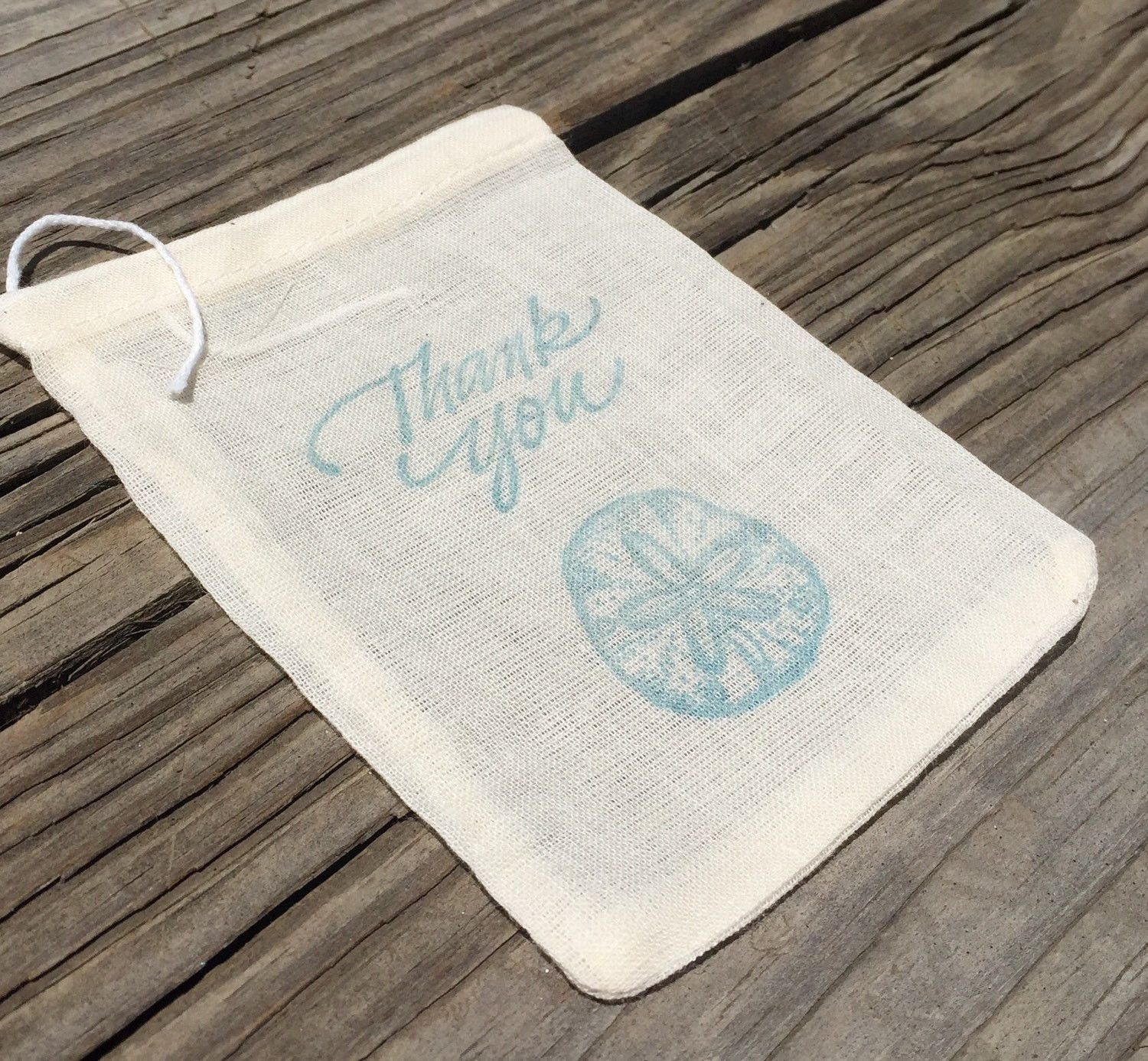 10 Mini sand dollar thank you bags, beach wedding thank you bags ...