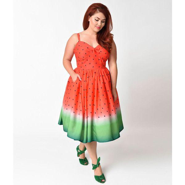 Unique Vintage Plus Size 1950s Watermelon Ombre Chateau Swing Dress