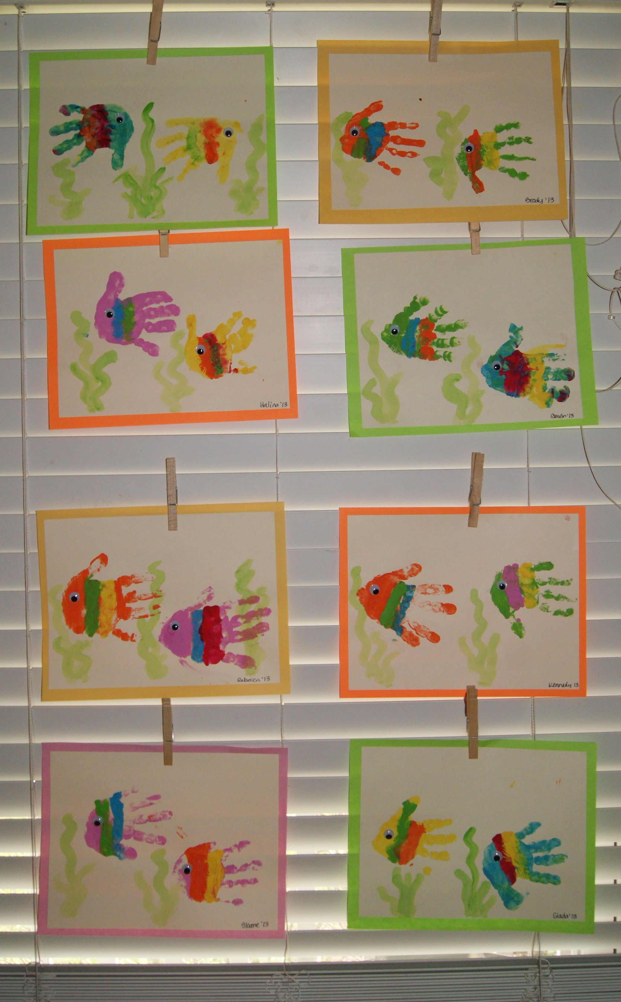 Make One Rainbow Fish Handprint And Write The Number One To Introduce The Number One With