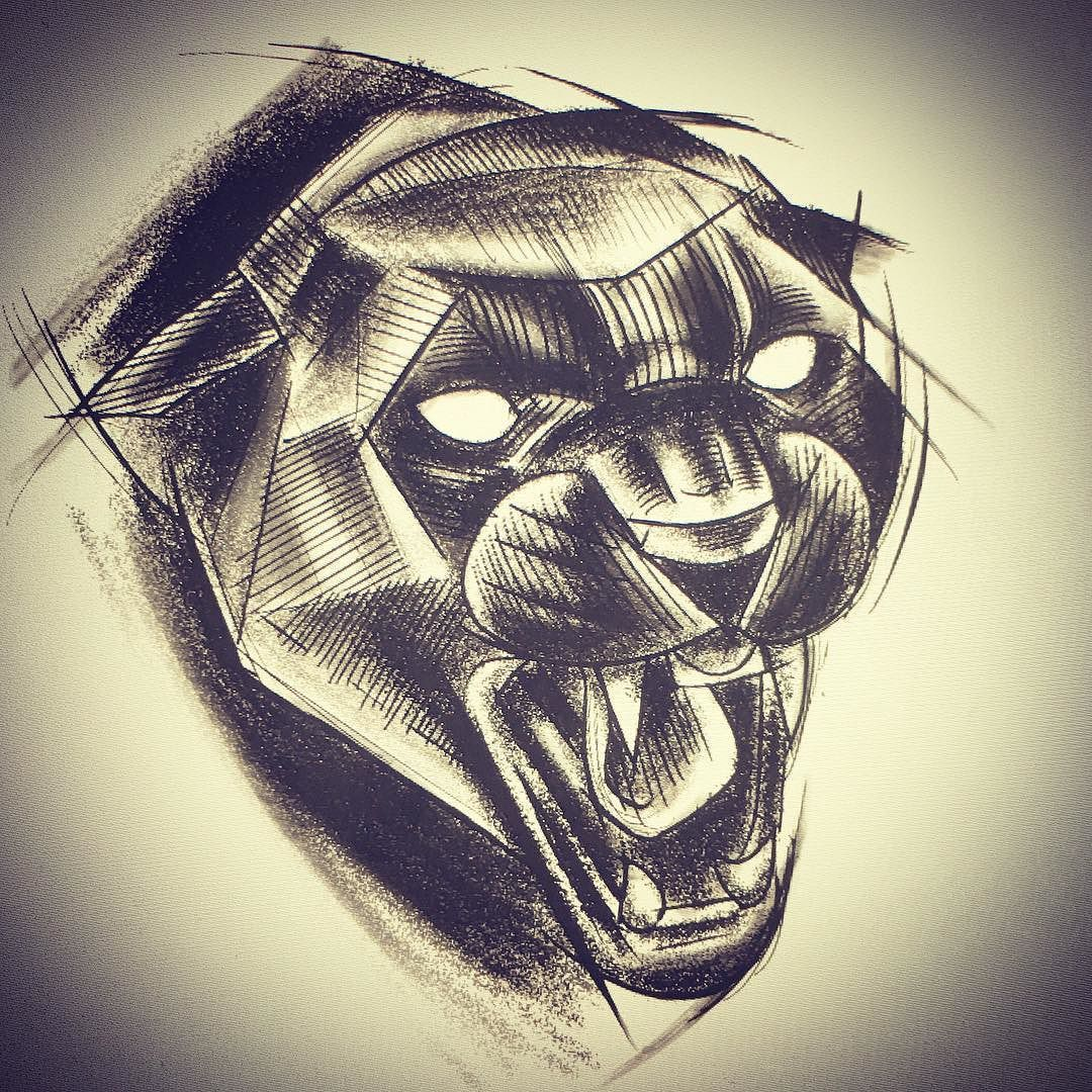 A panther head. #sketch #ink #inked #instatattoo # ...