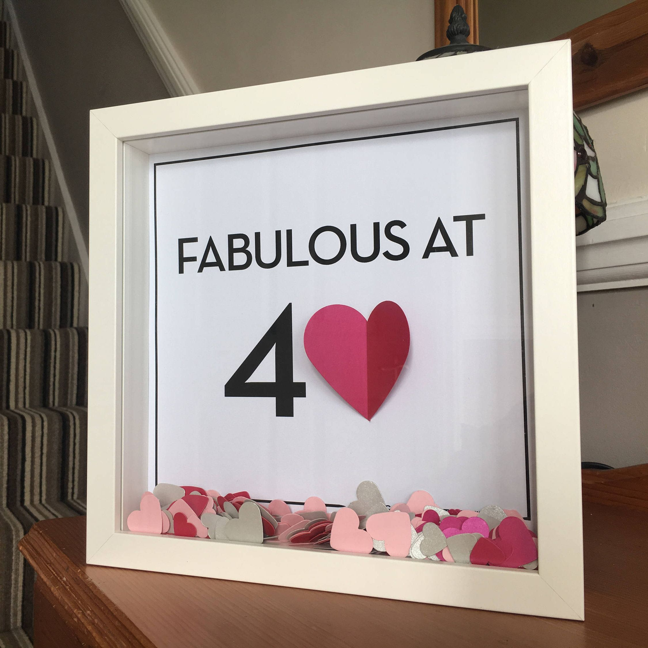 3D heart Milestone birthday frame - 3D Heart - Fabulous at 40 ...