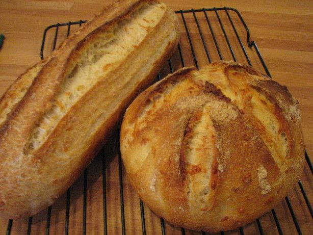 You can produce an authentic French loaf in your own kitchen. This really works! Adapted for the bread machine from a recipe found in World Sourdoughs From Antiquity, by Ed Wood. Prep time includes proofing time for sourdough starter.