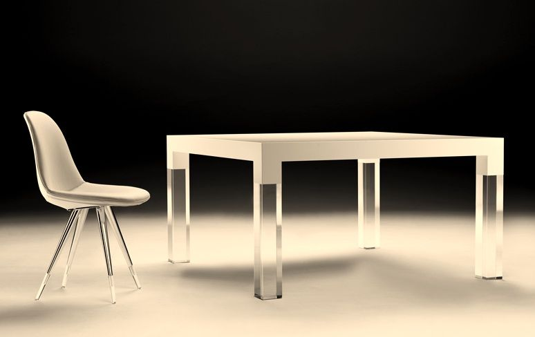 Mies Dining Table. Walnut or High Gloss White: Modern Dining Room Furniture Collection @ Cozy Furniture