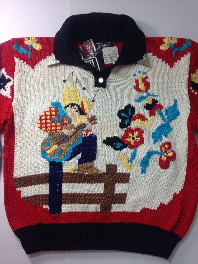 4e97f8ce5322d Berek Sweater M 1989 Western Cowboy Horse Rodeo Guitar Marta D Handknit NWT   360  Berek