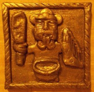 Shrine to Dagda, Celtic god of agriculture who possessed a harp that could, when played, put the seasons in order, ever-producing fruit trees and a magical cauldron.