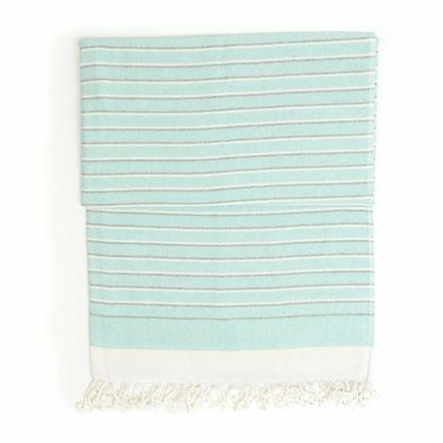 """Photo of Eftelia Peshtemal Pure Cotton Beach Towel – 38"""" x 70"""" / Turquoise"""
