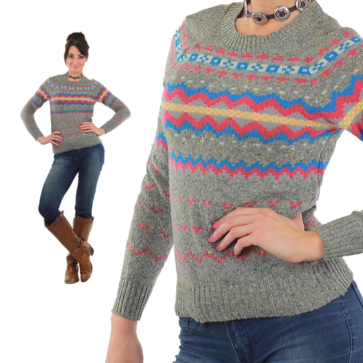 Ripped jeans flannel shirt  Geometric Sweater Gray Knit Striped Nordic Norwegian pink s Grunge