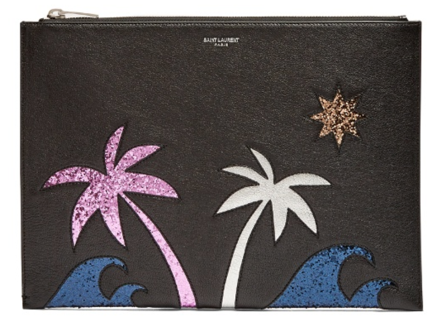 Palm Tree-embellished leather pouch