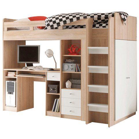 Lit en hauteur enfant 7 ensemble lit mezzanine avec bureau penderie tag re d cor - Lit mezzanine avec dressing ...