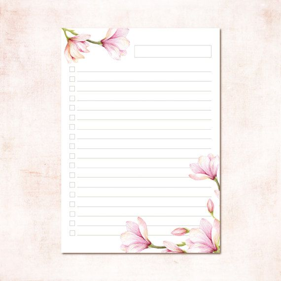 Floral to Do List Magnolia Collection Watercolor A4 and A5 ...