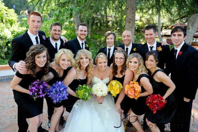 Pretty And Diffe Rainbow Wedding Mismatched Black Bridesmaids Gowns