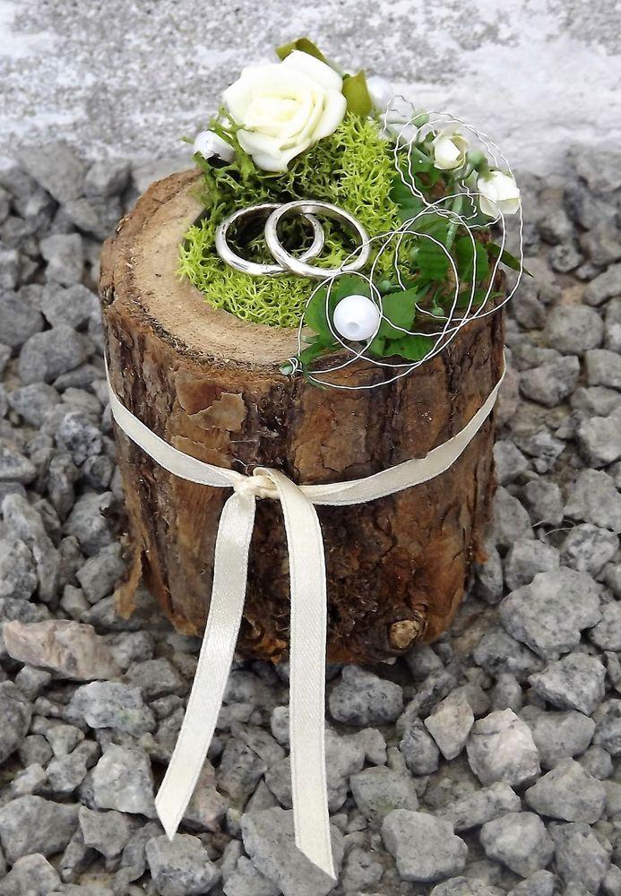 Ringkissen Ringhalter Holz Mini Baumstamm creme Hochzeit