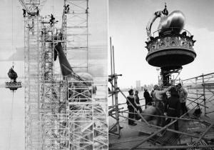 In 1984 Lady Liberty's torch was lowered for repairs. The Statue's current torch, which is a copper flame covered in 24K gold, was completed in 1986. It's seen here under construction in 1984 and 1985.