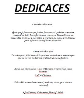 Exemples De Dédicace Pour Rapport Mémoires Et Pfe Modele
