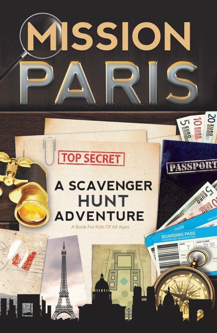 Mission Paris: a travel scavenger hunt book for kids, with editions for Paris, Rome, London, Barcelona, and Washington DC