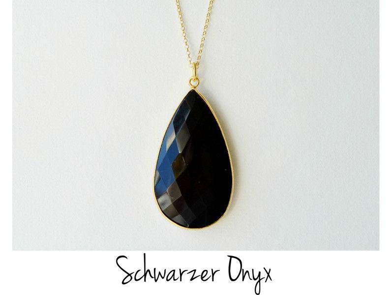 Statement: Black Onyx Kette vergoldet 925 Silber von miaundmartha  auf DaWanda.com