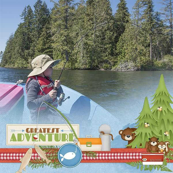 Spend a few lazy days making smores and enjoying nature in the mountains with this outdoor kit. #digitalscrapbooking #memorymaking #layout #inspiration