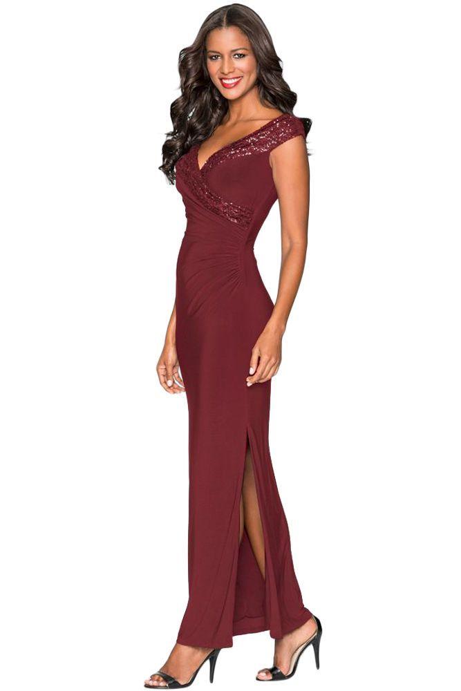 Photo of Roter Paillettenausschnitt V Wickel langes Abendkleid, rote Pailletten Wickel V-Ausschnitt langes Abendkleid D …