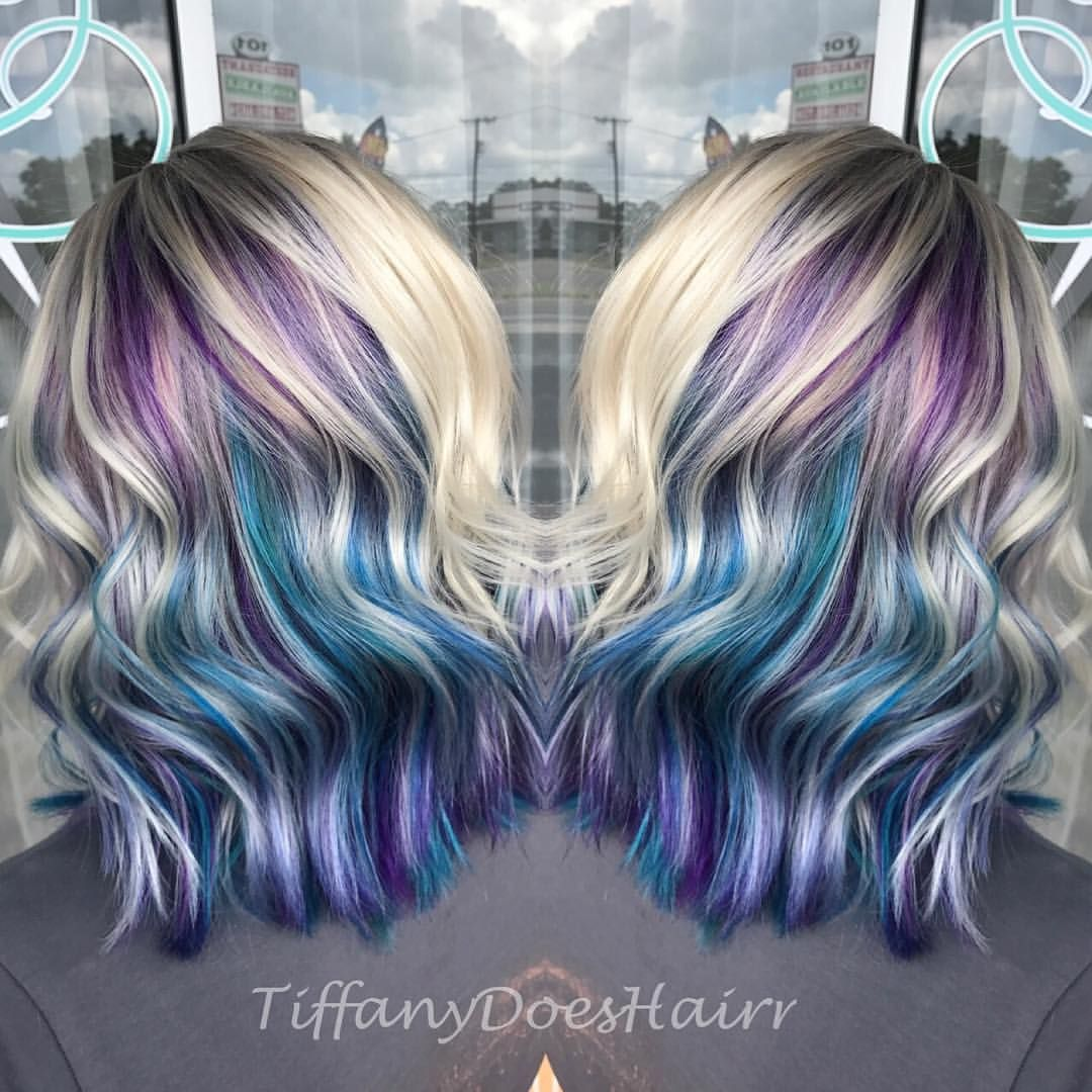 Platinum Blonde Hair With Purple Blue And Teal Underneath 0 Likes