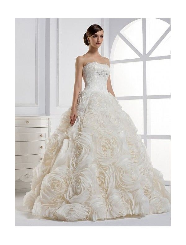 Organza Strapless Ball Gown Wedding Dress With Dramatic Rosette Skirt