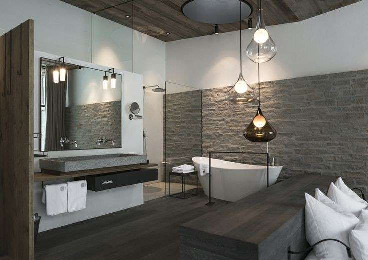 Decorare pareti interne in pietra - Bagno di design