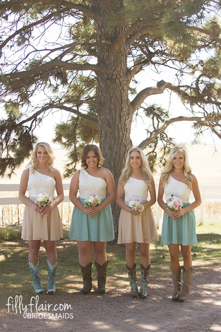 These Country Bridesmaid Dresses With Boots Are What You Need At Your Wedding