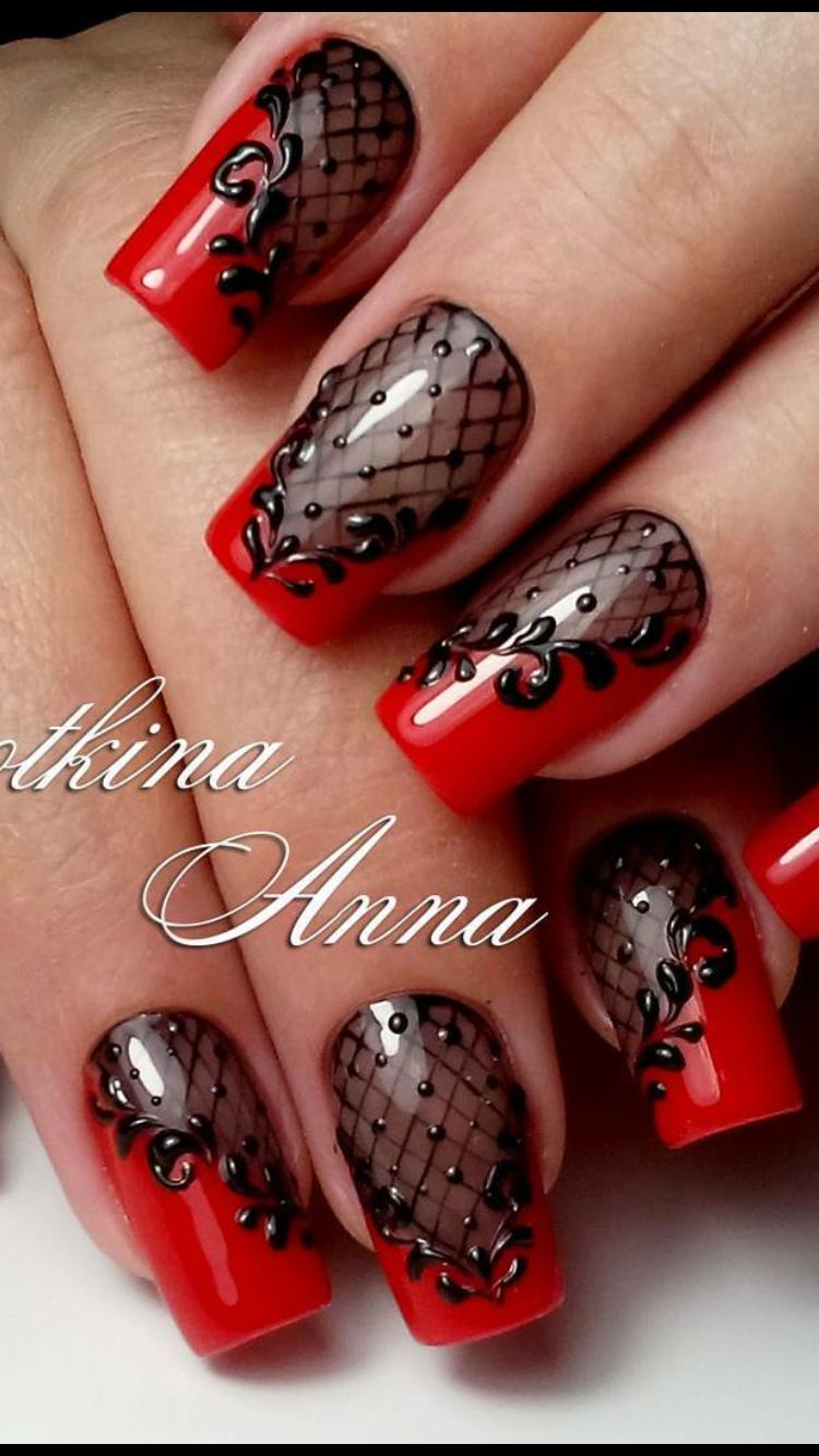 Nail Art Resille Dentelle Rouge Lace Nail Art Lace Nails Nail Designs