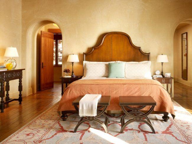 putz waende mediterran schlafzimmer design hocker teppich beige ...