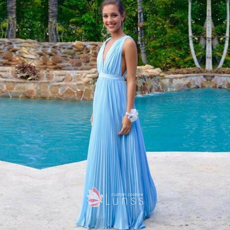 Ruched sky blue chiffon deep vneck aline long bridesmaid dress in