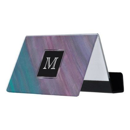 Modern visionary office monogram pink purple turquoise desk modern visionary office monogram pink purple turquoise desk business card holder reheart Images