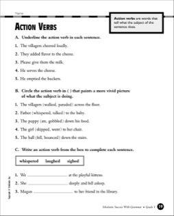 Action Verbs Grade 3 Action Verbs Kindergarten Phonics Worksheets Verb Words